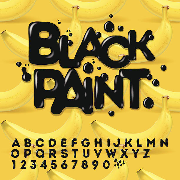 블랙 엔진오일 페인트 알파벳 - 잉글랜드 문화 stock illustrations