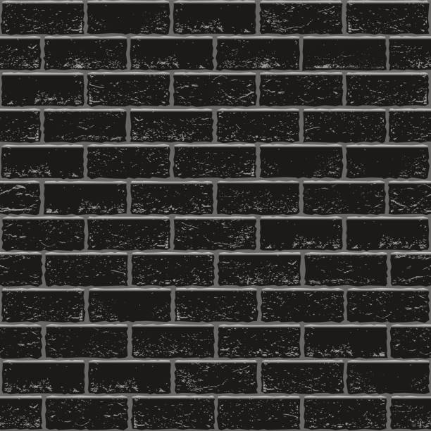 Black old brick seamless vector art illustration
