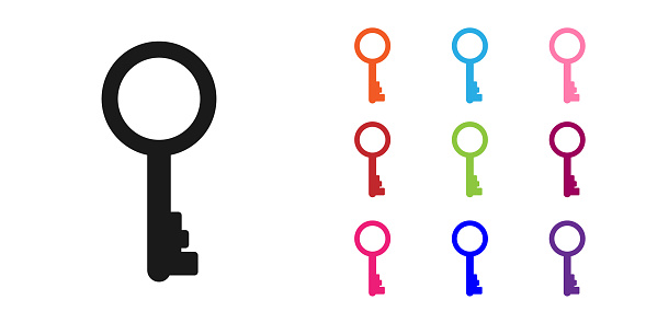 Black Old key icon isolated on white background. Set icons colorful. Vector Illustration
