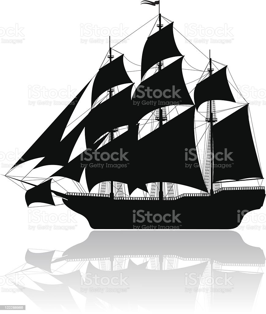 Black old ship isolated on white. vector art illustration