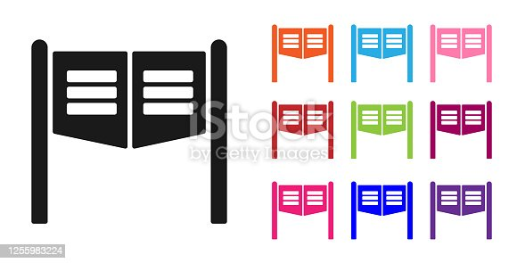 Black Old western swinging saloon door icon isolated on white background. Set icons colorful. Vector Illustration