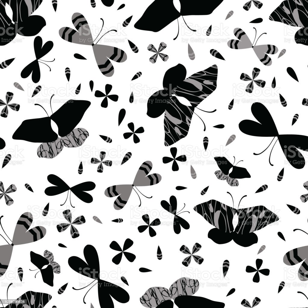 Black on White Butterflies Line Art Seamless Vector Pattern. Hand...