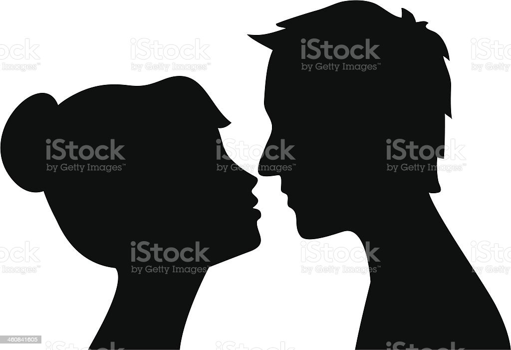 Black on white silhouette of man and woman about to kiss vector art illustration