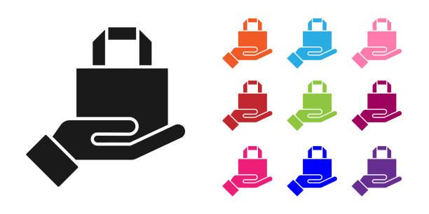 ilustrações de stock, clip art, desenhos animados e ícones de black online ordering and fast food delivery icon isolated on white background. set icons colorful. vector illustration - só adultos