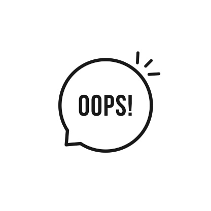 black oops thin line icon. flat stroke style trendy speech bubble graphic art design element isolated on white background. concept of minimal badge of wonder or fail and error