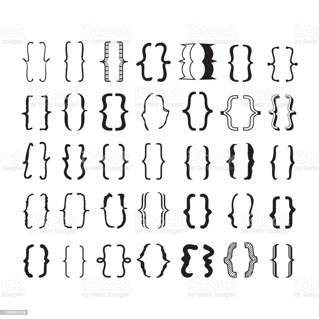 Black opening and closing pairs curly brackets or braces with different fonts and styles icons set on white background