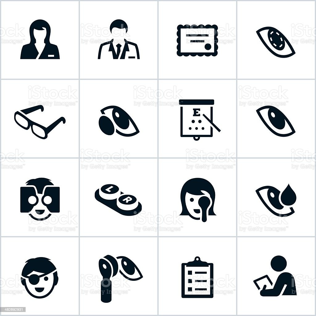 Black Optometry Icons vector art illustration