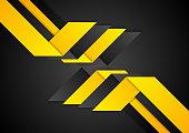 Black orange abstract geometric corporate background. Vector design
