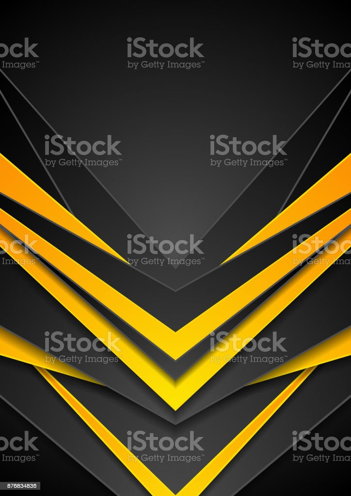 Black orange abstract tech arrows flyer background vector art illustration