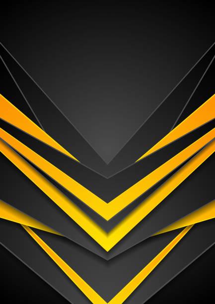 Black orange abstract tech arrows flyer background vector art illustration