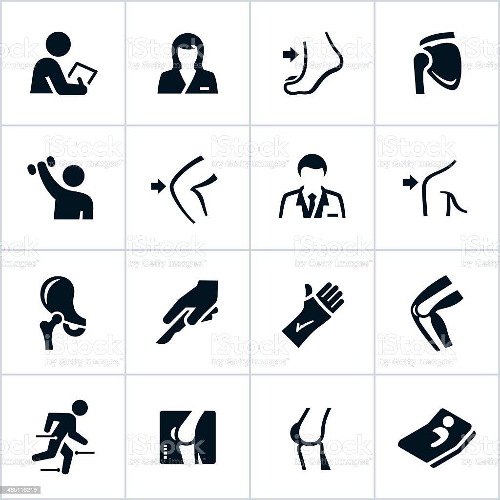 Black Orthopedic Icons vector art illustration