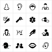 Black Otolaryngology Icons