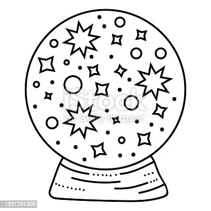 istock Black outline ball with stars in modern boho style. Vector magic illustrations. Hand drawn mystical line art isolated on white background. 1331291305