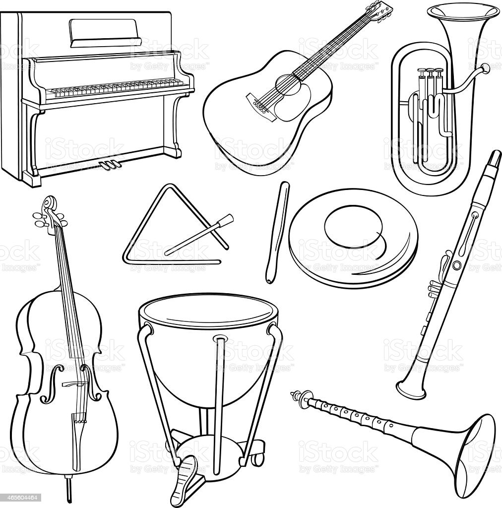 Line Art Xylophone : Black outline drawings of some musical instruments stock