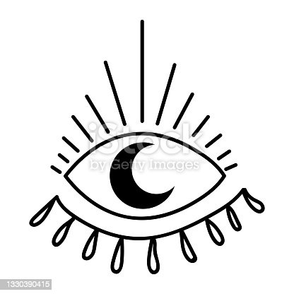 istock Black outline eye with moon in modern mystical style. Vector magic illustrations. Hand drawn doodles sketch isolated on white background. 1330390415