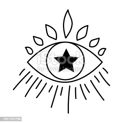 istock Black outline eye with star in modern mystical style. Vector magic illustrations. Hand drawn doodles sketch isolated on white background. 1331291299