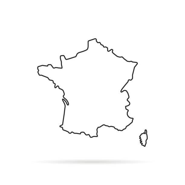 czarny zarys ręcznie rysowane mapy francji - francja stock illustrations