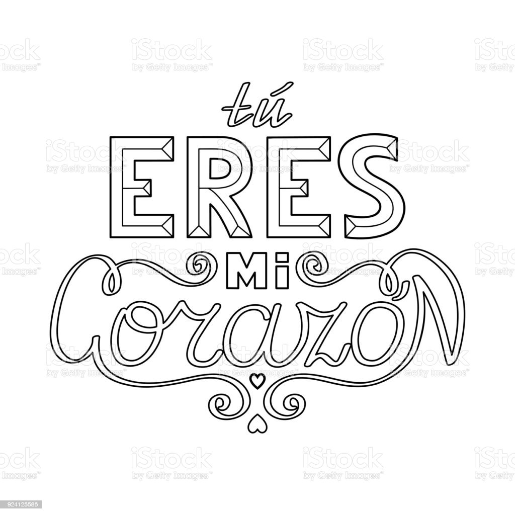 Black Outline Isolated Hand Drawn Decorative Quote In Spanish ...