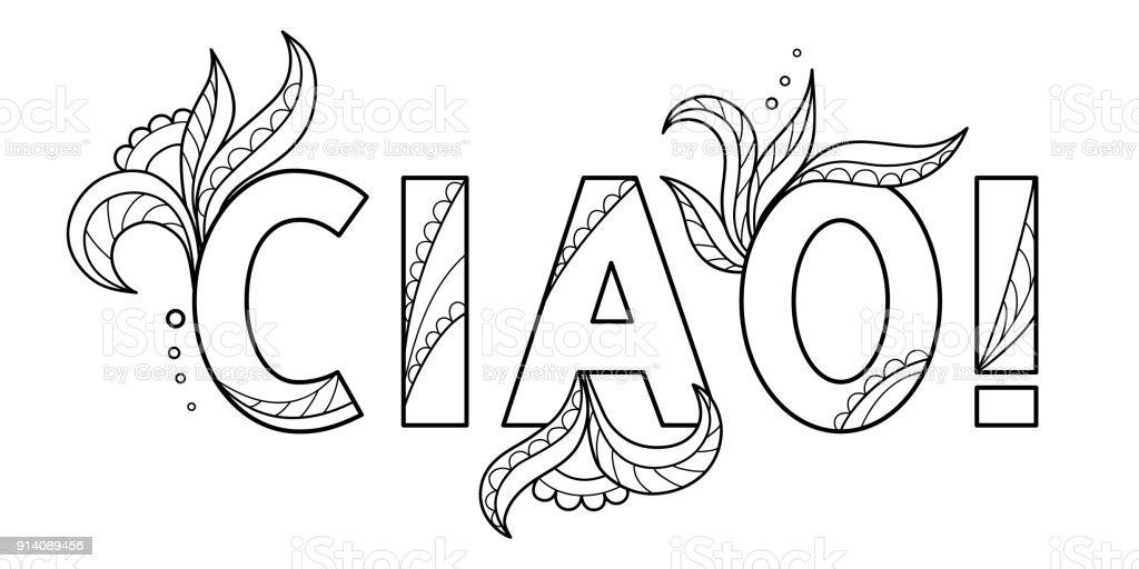 Siyah Italyanca Dil Izole Elle çizilmiş Dekoratif Wordde Anahat
