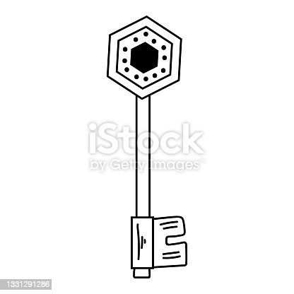 istock Black outline key in modern boho style. Vector magic illustrations. Hand drawn mystical line art isolated on white background. 1331291286
