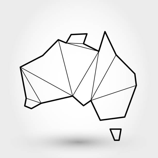 ilustraciones, imágenes clip art, dibujos animados e iconos de stock de mapa del contorno negro de australia - australia