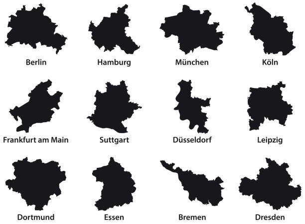 Black outline maps of the 12 most populous cities of the Federal Republic of Germany Black outline maps of the 12 most populous cities of the Federal Republic of Germany essen stock illustrations