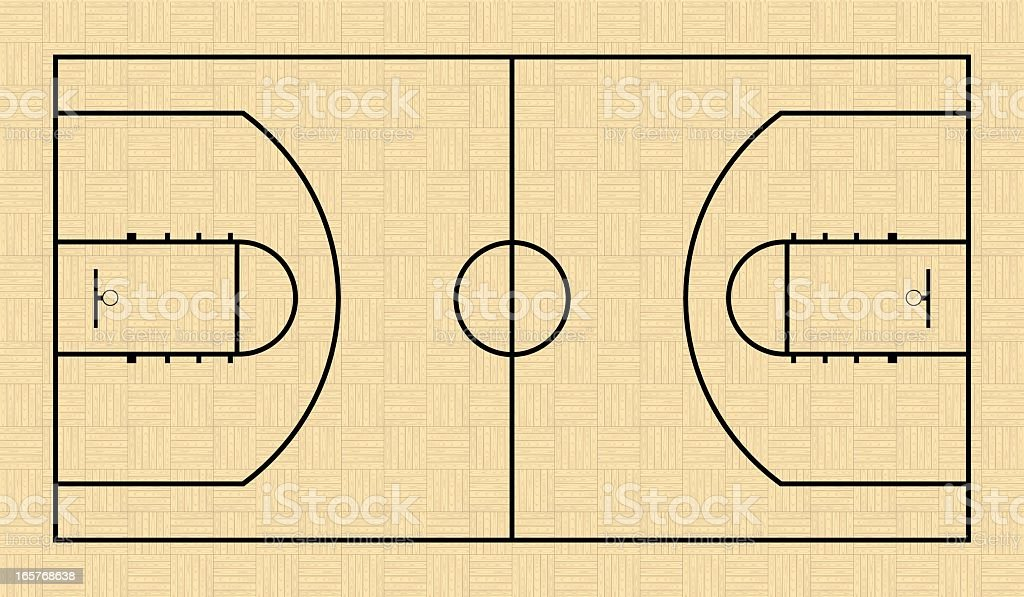 Black Outline of a Basketball Court vector art illustration