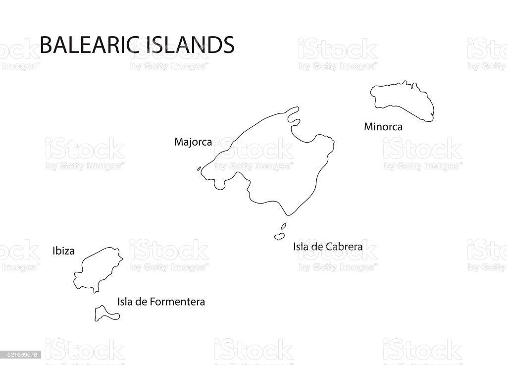 Insel Menorca Karte.Schwarze Kontur Der Balearen Karte Stock Vektor Art Und Mehr