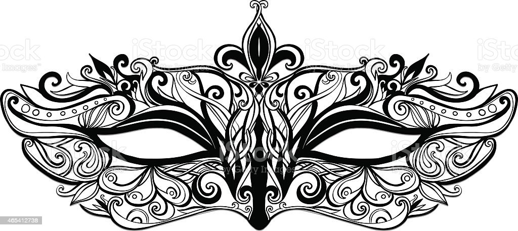 Black outline of carnival mask vector art illustration