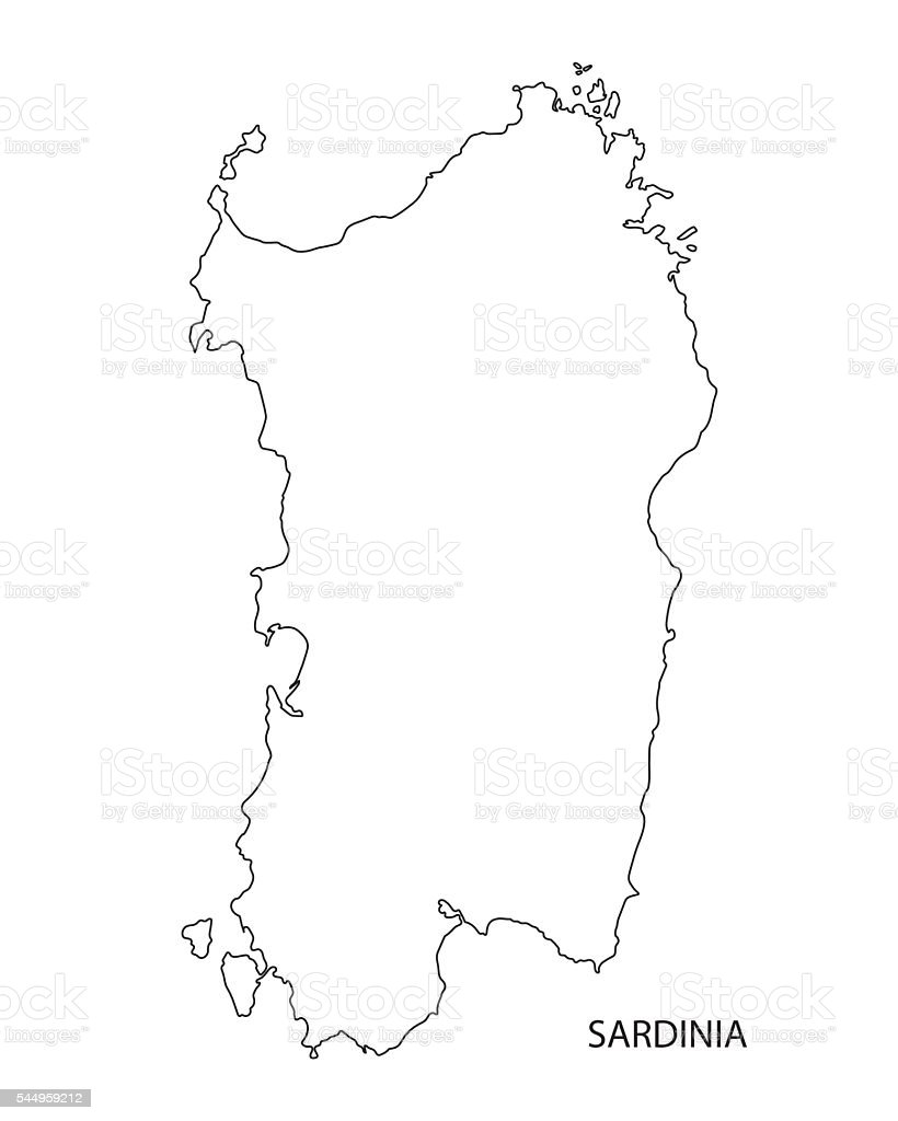 black outline of Sardinia map, Italy vector art illustration