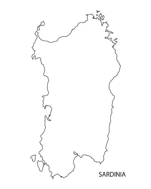 illustrazioni stock, clip art, cartoni animati e icone di tendenza di mappa sagoma nera della sardegna, italia - sardegna