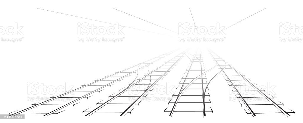 Black Outline of tracks, sleepers and turnouts at the station. – Vektorgrafik