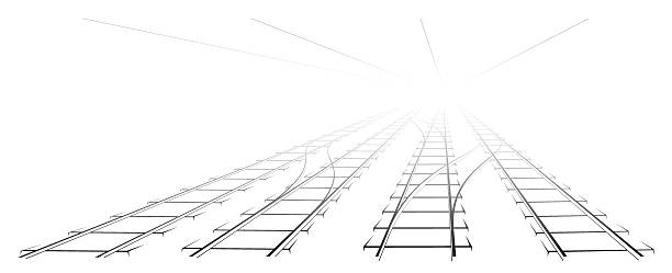 illustrations, cliparts, dessins animés et icônes de black outline of tracks, sleepers and turnouts at the station. - voie ferrée