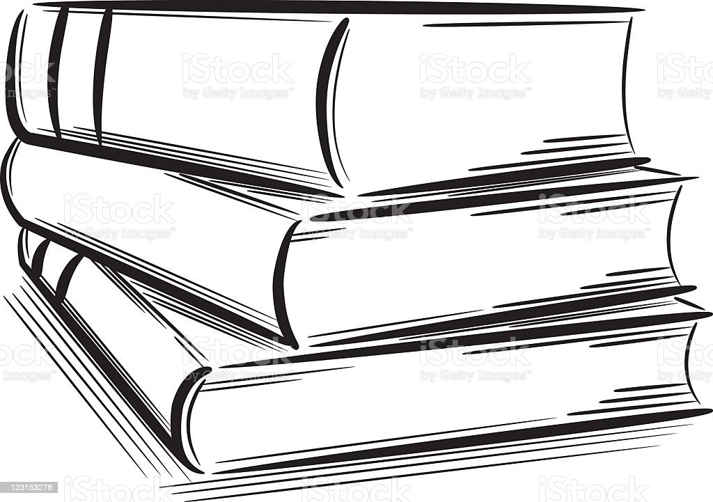 Black outline sketches of a pile of books stock vector art for Black and white only