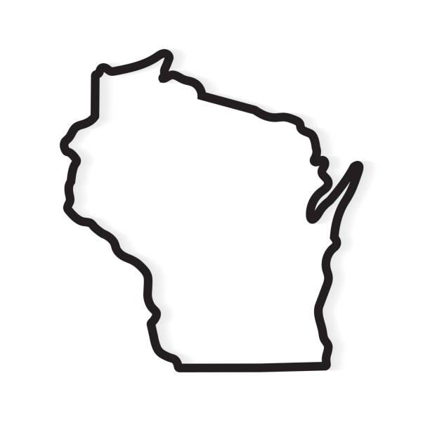 black outline Wisconsin map black outline Wisconsin map- vector illustration wisconsin stock illustrations