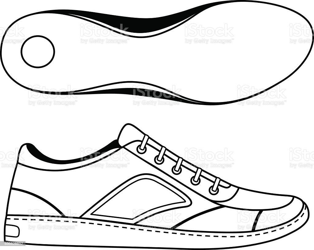 Black outlined sneakers shoe & sole vector art illustration