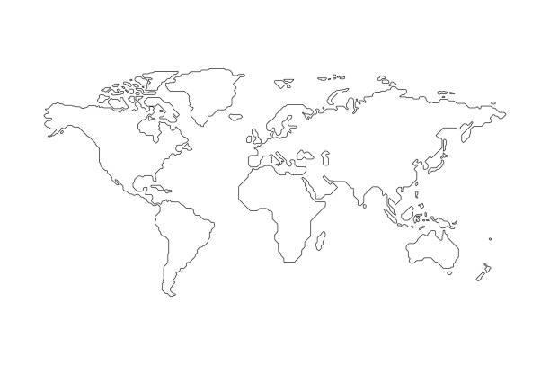 mapa świata na czarnym zarysie - mapa świata stock illustrations