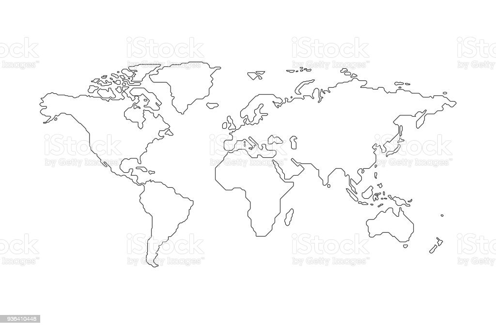 Black outlined World Map vector art illustration