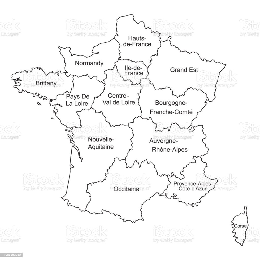 Image of: Black Outlines Map Of France With Names On White Background Stock Illustration Download Image Now Istock
