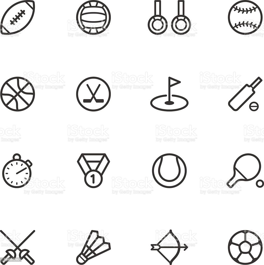 Black outlines of sports icons on a white background vector art illustration