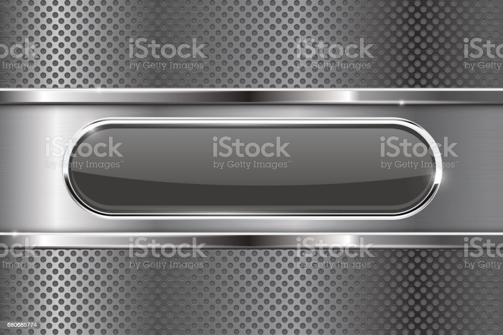 Black oval button on metal background royalty-free black oval button on metal background stock illustration - download image now