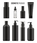 Set of realistic black package for luxury cosmetic product: tube cream, bottle with pump dispenser or spray, oil, lotion or shampoo, gel shower and liquid soap. Vector mockup of isolated on white