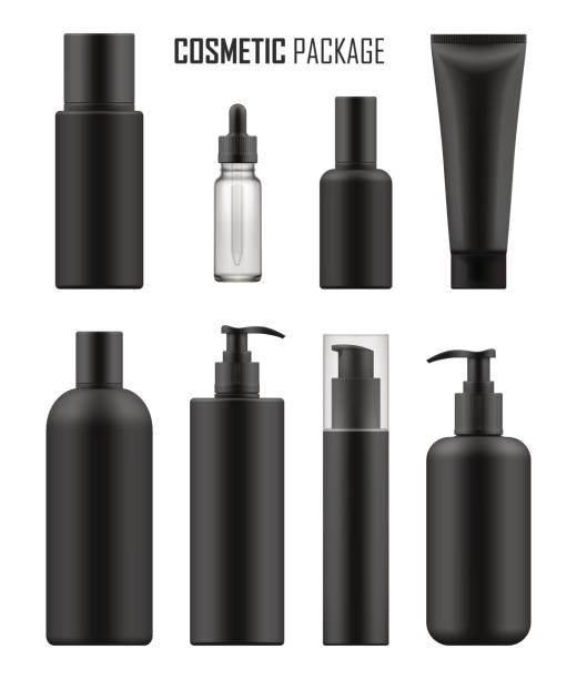 schwarze pakete für luxus-kosmetik - shampoos stock-grafiken, -clipart, -cartoons und -symbole