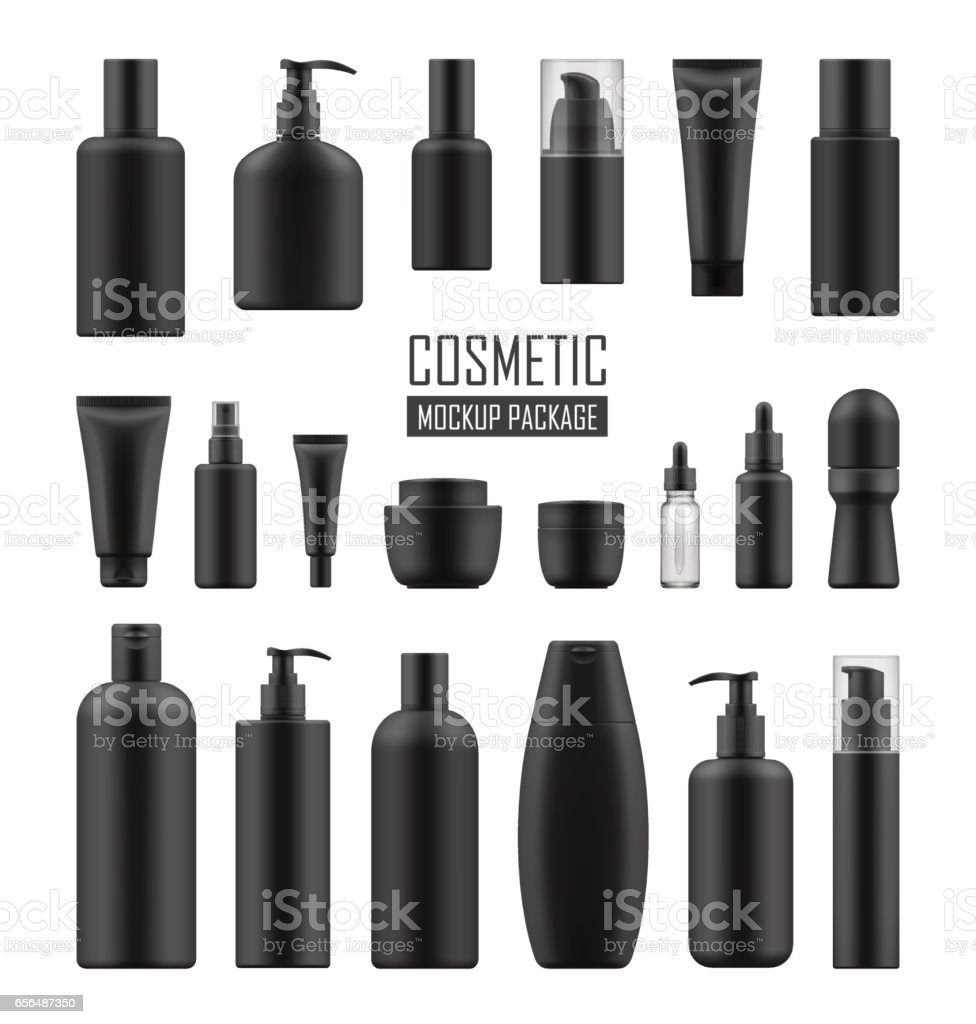 Black packages for luxury cosmetic vector art illustration
