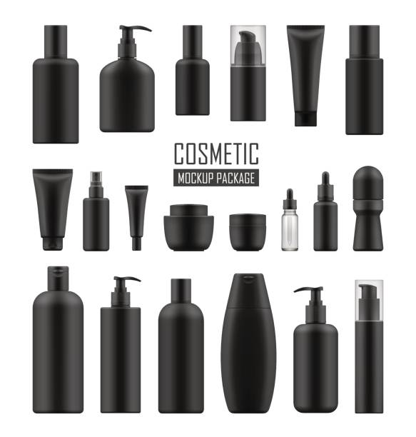Black packages for luxury cosmetic Set of realistic black package for luxury cosmetic product: tube cream, bottle with pump dispenser or spray, oil, lotion or shampoo, gel shower and liquid soap. Vector mockup of isolated on white tube stock illustrations