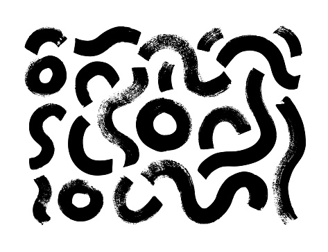 Black paint brush strokes vector collection. Hand drawn curved and wavy lines with grunge circles.