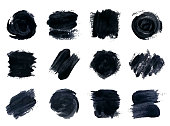 Vector set of black paint, ink, grunge, dirty brush strokes