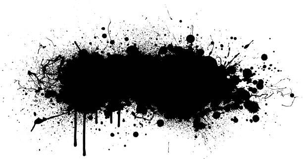 Black paint splash background Black paint splatter vector design background splattered stock illustrations