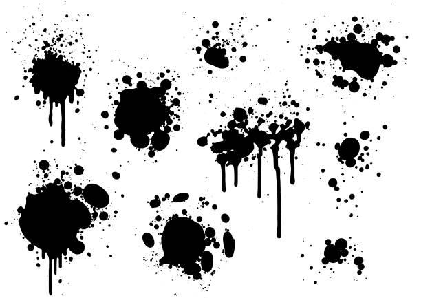 Black paint splatters vector art illustration