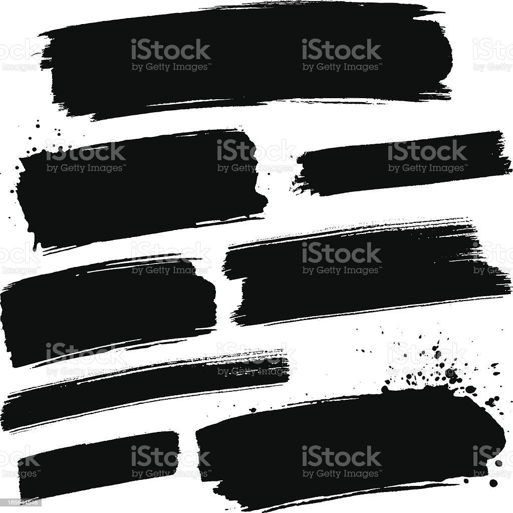 Black paint strokes vector art illustration